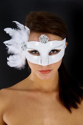 Venetiaans gezichtsmasker Cats, Wit