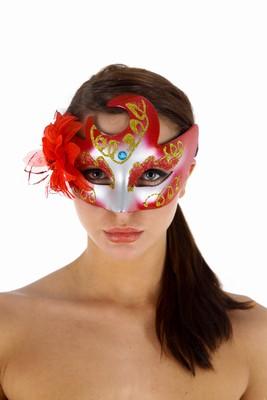 Venetiaans gezichtsmasker Faust, Rood